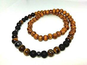 Šperky - Pánsky náhrdelník drevo, hematit, tigrie oko - 13823773_
