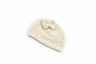 Detské čiapky - Krémová čiapka s mašličkou ALPACA - 13822669_