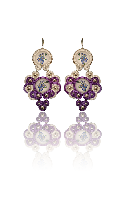 AMORE VIOLA handmade soutache náušnice - autorské šperky LEKIDA