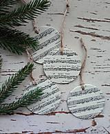 Dekorácie - Vianočné ozdoby nota - 13825000_