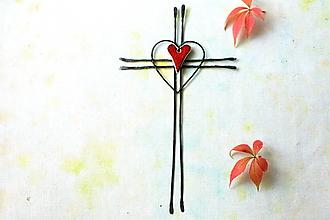 Dekorácie - krížik tepaný * 26 cm - 13822471_