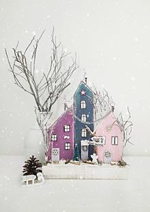 Dekorácie - Zimná dekorácia ,,Pastelová dedinka,, - 13826344_