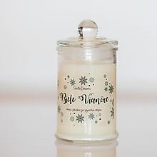 Svietidlá a sviečky - Sviečka zo 100% sójového vosku v skle - Biele Vianoce - 13827668_