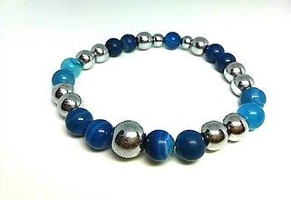 Šperky - Pánsky náramok achát s hematitom - 13828354_