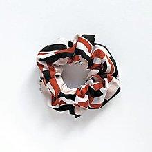 Ozdoby do vlasov - Recy-scrunchie tehlová vzorovaná - 13825311_