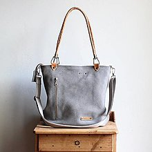 Veľké tašky - Kožená kabelka Klasik Daily *Steel-grey* - 13826601_