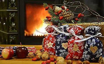 Dekorácie - Adventné vrecúška / adventný kalendár FOLK ČERVENÁ - MODRÁ - 13828990_