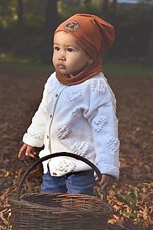 Detské súpravy - Ľanovo-bavlnený set škorica / líška - 13829915_
