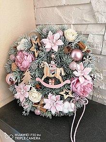 Dekorácie - Ružový vianočny veniec 30cm - 13826618_