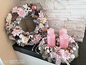 Dekorácie - Ružový adventný veniec 30cm - 13826624_