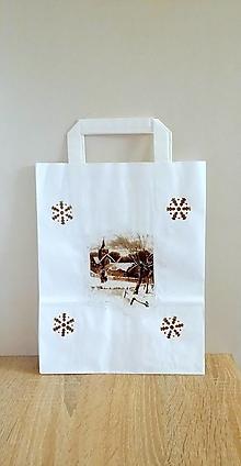 Iné tašky - darčeková taška zasnežená dedinka - 13829474_