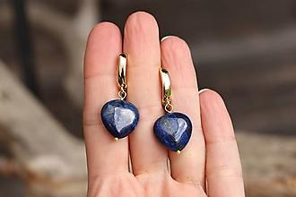 Náušnice - Náušnice so srdiečkami z lapis lazuli - 13825192_