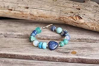 Náramky - Bohemian náramok z minerálov lapis lazuli, achát, tyrkenit, jaspis, opalit - 13827197_
