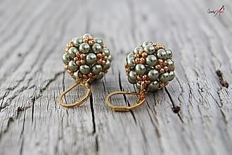 Sady šperkov - súprava PP zeleno-zlatá (náušnice PP zeleno-zlaté) - 13833310_