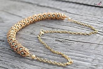 Sady šperkov - súprava PP zeleno-zlatá (náhrdelník PP zeleno-zlatý) - 13833316_