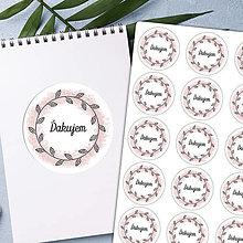 Papier - ĎAKUJEM rúžový venček nálepka - 13834538_