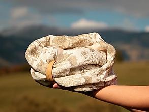 Šatky - Štýlový ľahučký ľanový nákrčník béžové kvety - 13831109_