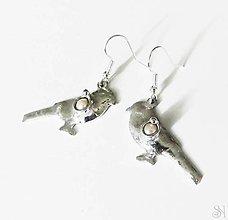 Náušnice - Cínované tiffany náušnice vtáčiky s riečnymi perlami - 13831496_