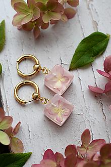 Náušnice - Náušnice Ružová hortenzia 3103 A CHO - 13830800_