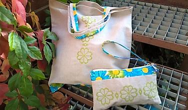Nákupné tašky - Nákupná ľanová taška a taštička - sada - 13830998_