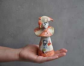 Dekorácie - Klaun, Harlekýn S, oranžový s tulipánmi - 13830783_