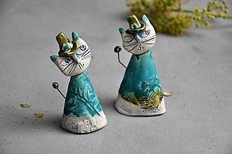 Dekorácie - Mačka, mačička tyrkysová - 13831950_