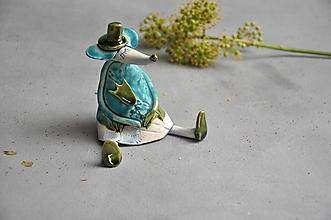 Dekorácie - Myš s tulipánom tyrkysová - 13831989_