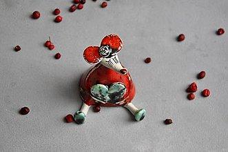 Dekorácie - Myš s veľkým srdcom červená - 13832317_