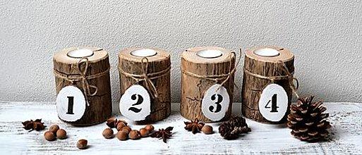 Svietidlá a sviečky - Drevené svietniky - naturálna sada - Advent - 13830669_