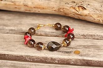 Náramky - Bohemian náramok z minerálov záhneda a korál - 13833341_