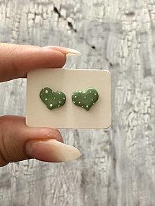 Náušnice - maľované bodkované srdiečka (PiDi vintage Zelená) - 13830683_
