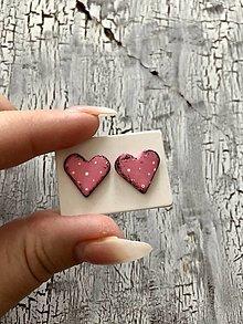Náušnice - MIDi maľované bodkované srdiečka (ružové s patinou) - 13830723_