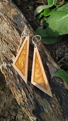 Náušnice - Drevené náušnice so živicou vyrobené z bukového dreva a háčiky sú zo striebra. .Rôzne farebné prevedenia aj na želanie - 13835892_