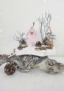 Dekorácie - Zimný domček ,,Ružové Vianoce,, - 13835310_