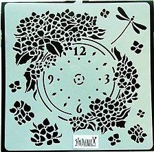 Nástroje - Šablóna Stamperia - 18x18 cm - hodiny, kvety, vážka - 13835021_
