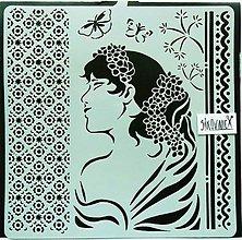 Nástroje - Šablóna Stamperia - 18x18 cm - žena, ornamenty, kvety - 13835030_