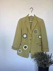 Kabáty - Sako svetlozelené s aplikáciou - 13836272_