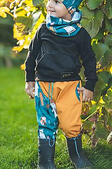 Detské oblečenie - softschell nohavice petrol - 13836202_