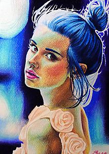 Obrazy - Blue hair, Red eyes - tlač A4, A3 - 13836473_