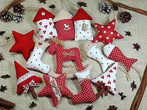 Dekorácie - Sada vianočných ozdôb,červeno biele s béžovou - 13839758_