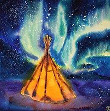 Obrazy - Polárne žiary akvarelovy obraz výtlačok (print) - 13837230_