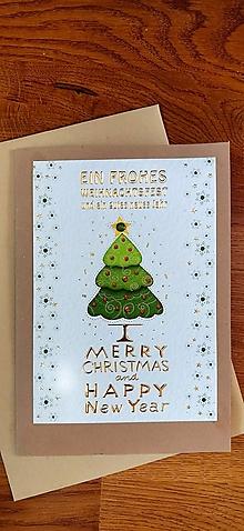 Papiernictvo - Vianočná pohľadnica Stromček - 13838607_