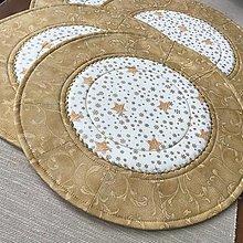 Úžitkový textil - prestierania zlatá metalická potlač - 13838191_