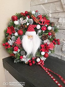 Dekorácie - Vianočný veniec s Mikulášom 30cm - 13838596_
