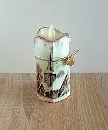 Svietidlá a sviečky - sviečka zasnežená dedinka - 13837570_