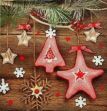Papier - S839 - Servítky - vianočné ozdoby, stromček, hviezdička - 13842397_