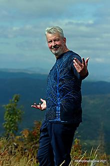 Tričká - Pánske tričko, batikované, maľované STROM A HVIEZDY - 13841447_