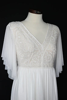 Šaty - Moderné svadobné šaty pre tehotnú nevestu - 13841180_