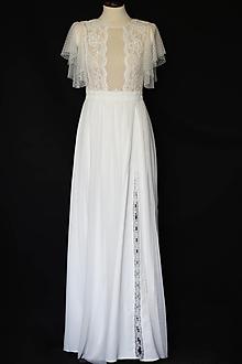 Šaty - Svadobné šaty bodka s volánovými rukávmi - 13842062_