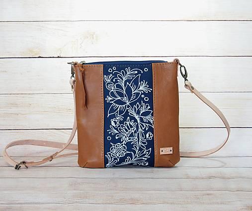 Modrotlačová  kožená kabelka Dara AM 8